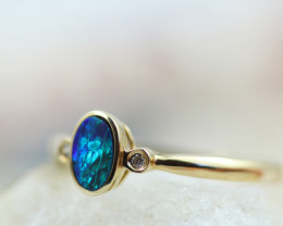 Doublet  Opal set in14 k Yellow Gold Ring CK602