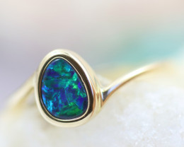 Doublet  Opal set in 14 k  Yellow Gold Ring CK 605