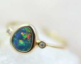 Doublet  Opal set in14 k Yellow Gold Ring CK 606