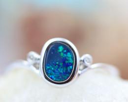 Doublet  Opal set in14 k White Gold Ring CK 607