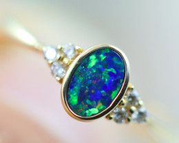 Doublet  Opal set in14 k Yellow Gold Ring CK 609