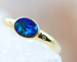 Doublet  Opal set in 14 k Yellow Gold Ring CK 610