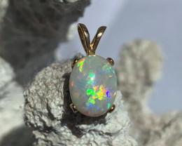 18k Gold STUNNING Bright Flawless Lightning Ridge Gem in pendant
