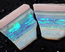 11.25cts Mintabie Rough Opal Sliced Rough Pair DT-A4975 - dreamtimeopals
