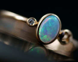 Crystal Opal set in18 k Rose Gold Ring Size 7  CK 662