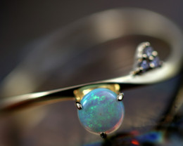 Crystal Opal set in 18K Yellow Gold Ring  Size 6   CK 667