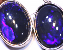 26.40 CTS BLACK OPAL SILVER EARRINGS OF-2823 OPALSFOREVER