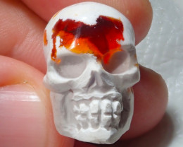 29.5ct Skull Mexican Cantera Figurine Fire Opal