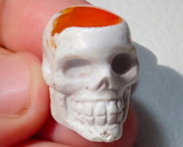 51.7ct Skull Mexican Cantera Figurine Fire Opal