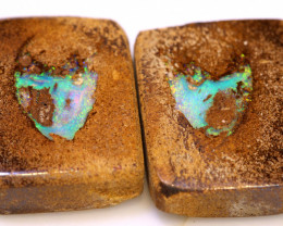 15.15 CTS BOULDER PIPE CRYSRTAL OPAL POLISHED STONE PAIR RO-1187    RANIOPA