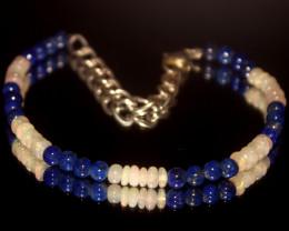 19.10 Crts Natural Ethiopian Welo Opal & Lapis Beads Bracelet 17