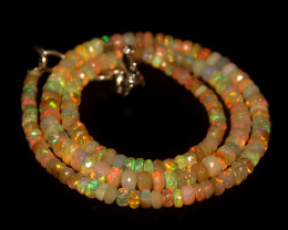 49.90 Crts Natural Welo Faceted Opal Beads Necklace 294