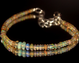 17.75 Crts Natural Ethiopian Welo Opal Beads Bracelet 16