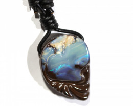 80 CTS BOULDER OPAL PENDENT LEATHER  CORD  CP152