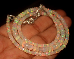 35.50 Crts Natural Welo Faceted Opal Beads Necklace 281