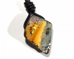 40 CTS BOULDER OPAL LEATHER. CORD PENDENT FP154