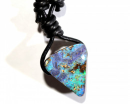 26 CTS BOULDER OPAL LEATHER CORD  PENDENT FP156