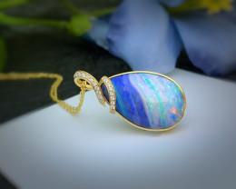 Sold out.18K Gold Australian Natural Boulder Opal Pendants Wedding Necklace