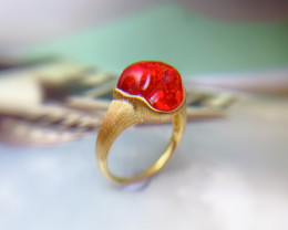 18K Gold Mexican Natural Red Fire Opal Ring Wedding Jewelry