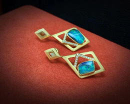 18K Gold Australian Natural Boulder Opal Earrings Diamonds Wedding Jewelry