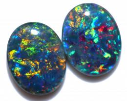 2.5 Cts Australian Triplet Opals Pairs 9x7mm FO 1461