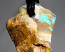 Solid Australian White Boulder Opal Pendant 8.75ct Boho Style