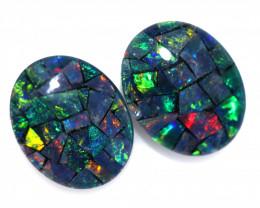 3.5 Cts Pair Australian Opal Triplet Mosaic  FO 1494