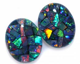 3.7 Cts Pair Australian Opal Triplet Mosaic  FO 1495