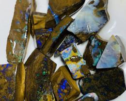 Plz watch the video- Winton Colourful Rough Boulder Opals #1784