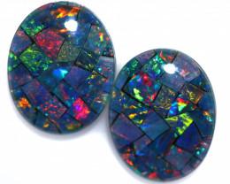3.3 Cts Pair Australian Opal Triplet Mosaic  FO 1511