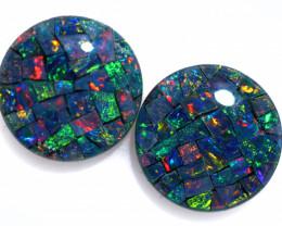3.3 Cts Pair Australian Opal Triplet Mosaic  FO 1522