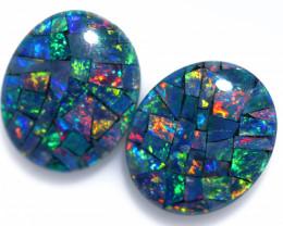 6.2 Cts Pair Australian Opal Triplet Mosaic  FO 1537