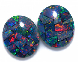 6.2 Cts Pair Australian Opal Triplet Mosaic  FO 1542