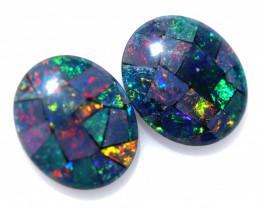 6 Cts Pair Australian Opal Triplet Mosaic  FO 1547