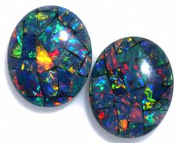 6 Cts Pair Australian Opal Triplet Mosaic  FO 1548