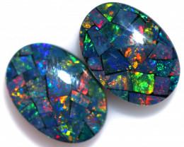 7 Cts Pair Australian Opal Triplet Mosaic  FO 1575