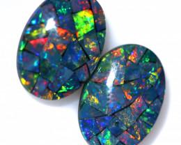 7 Cts Pair Australian Opal Triplet Mosaic  FO 1576