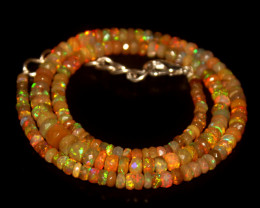 49.90 Crts Natural Welo Faceted Opal Beads Necklace 358