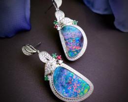 Australian Natural Boulder Opal 18K Gold Earrings