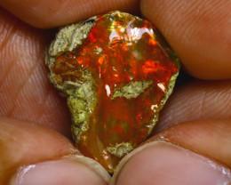11.97Ct Multi Color Play Ethiopian Welo Opal Rough GN14/R2