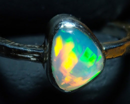 7.50size Ethiopian Wello Opal Ring Natural .925 Silver