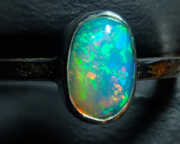 7.25size Ethiopian Wello Opal Ring Natural .925 Silver