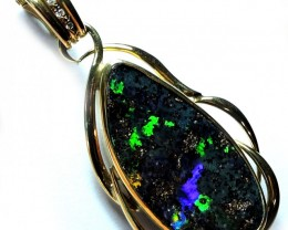 VIDEO SUPERB GREEN FIRE BOULDER PENDANT 18K GOLD 22CTS R1241