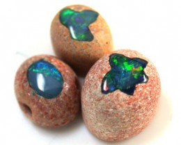 PARCEL 3 CABOCHON OPAL INLAY    12.90  CTS  R 1468