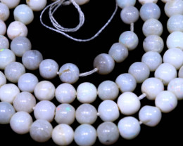 31.05 CTS WHITE OPAL BEADS STRANDS TBO-A3559 TRUEBLUEOPALS