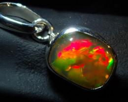 8ct Ethiopian Wello Opal Pendant Natural .925 Silver