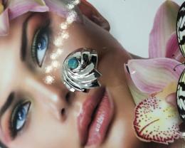 Silver inlay opal ring , Sydney Opera house design