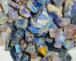 Dark Rough Nobby Opals with Bright Blues - Good Potential Rough