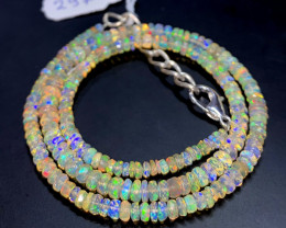 39.25 Crts Natural Welo Faceted Opal Beads Necklace 297
