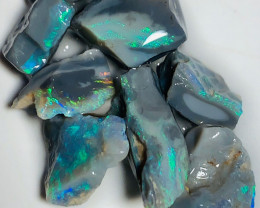 Cutters Select Dark Rough Seam Opals with Bright Colour Bars to Cut